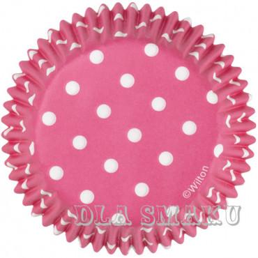 Papilotki Pink Polka Wilton 75szt babeczki muffinki