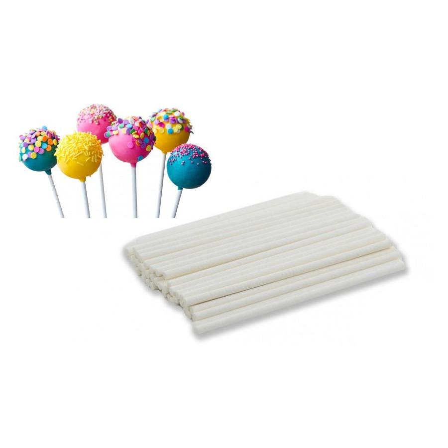 Patyczki papierowe do lizaków białe 50szt 11,5cm 151509