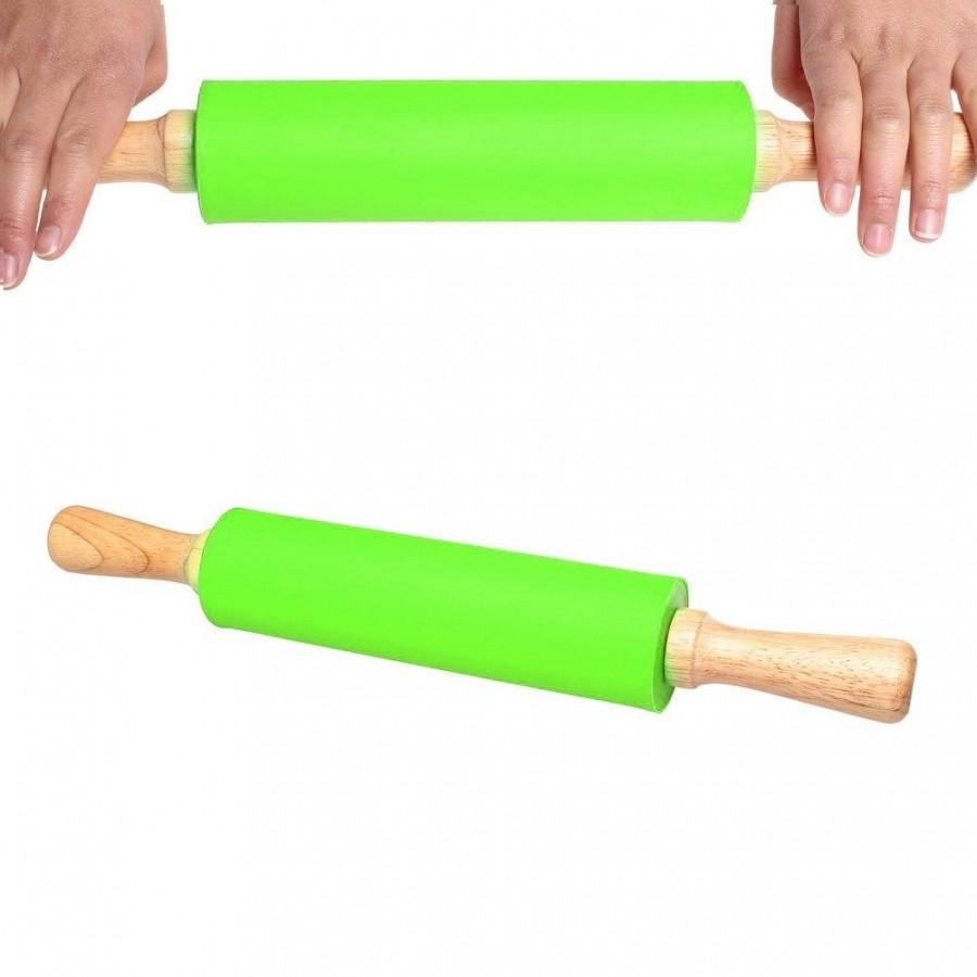 Obrotowy, wałek silikonowy kolor: niebieski długość całkowita: 38cm średnica: ok. 5cm  rewelacyjny wałek silikonowy do ciasta, m