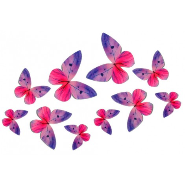 Motyle waflowe 3D FIOLETOWE 10 szt