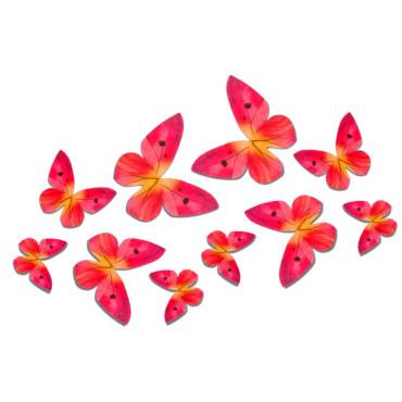 Motyle waflowe 3D RÓŻOWE 10 szt