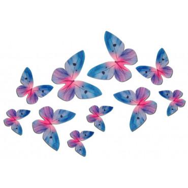 Motyle waflowe 3D NIEBIESKIE 10 szt