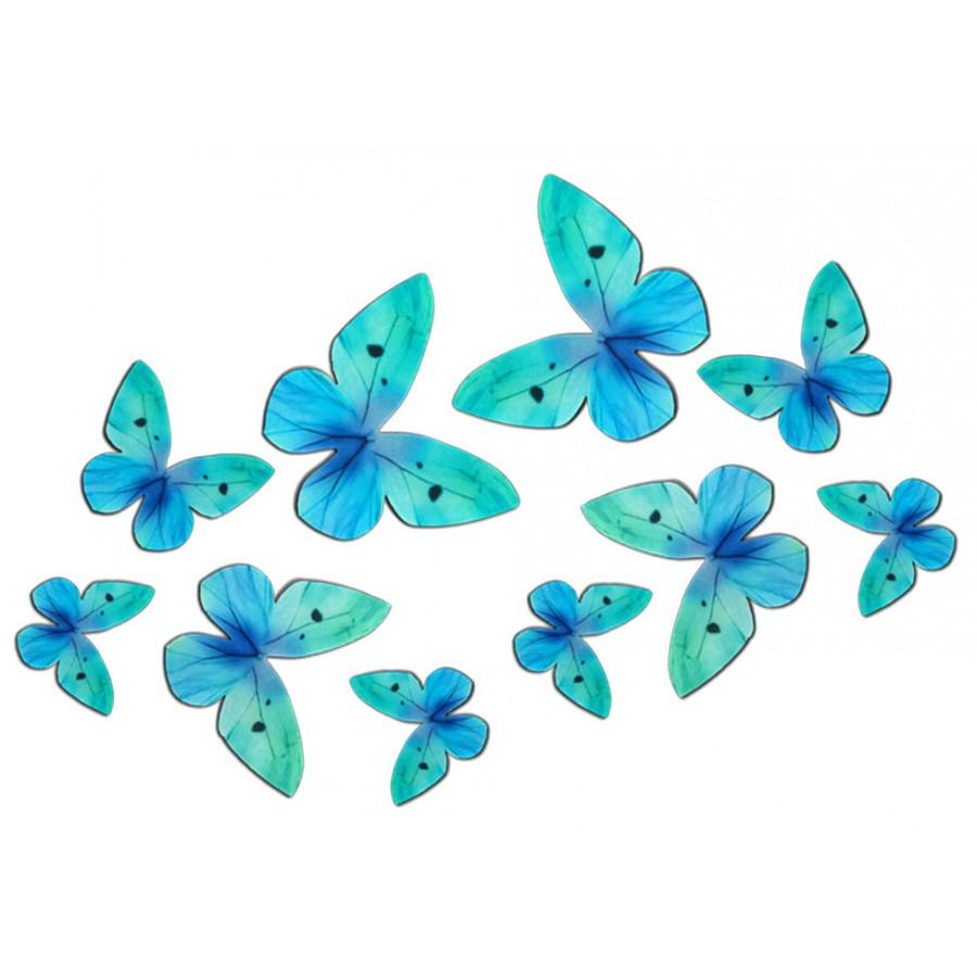 Motyle waflowe 3D TURKUSOWE 10 szt