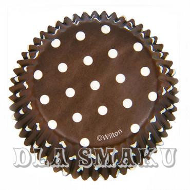 Papilotki Brown Polka do muffinek Wilton 75 szt