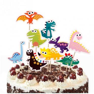 Toppery na tort urodzinowy Dinozaury 9 sztuk