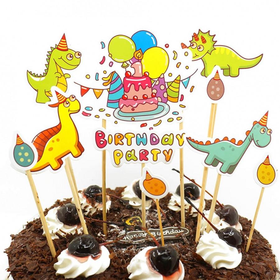 Toppery na tort urodzinowy DinozauryBirthday Party 11 sztuk