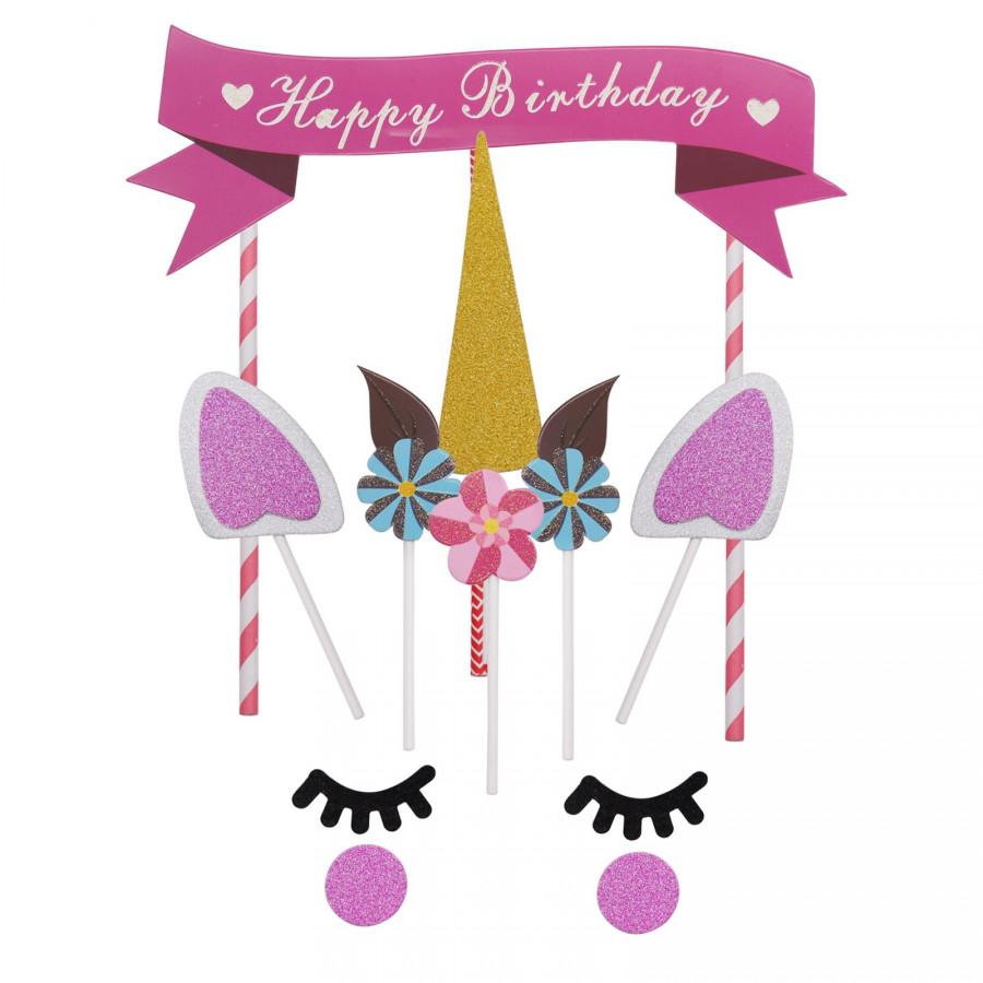 Toppery na tort urodzinowy JEDNOROŻEC UNICORN 15elementów