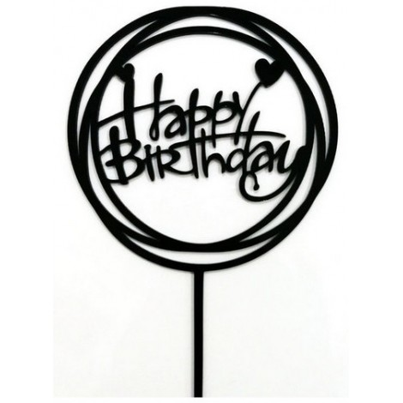 Tooper okrągły Happy Birthday czarny akrylowy