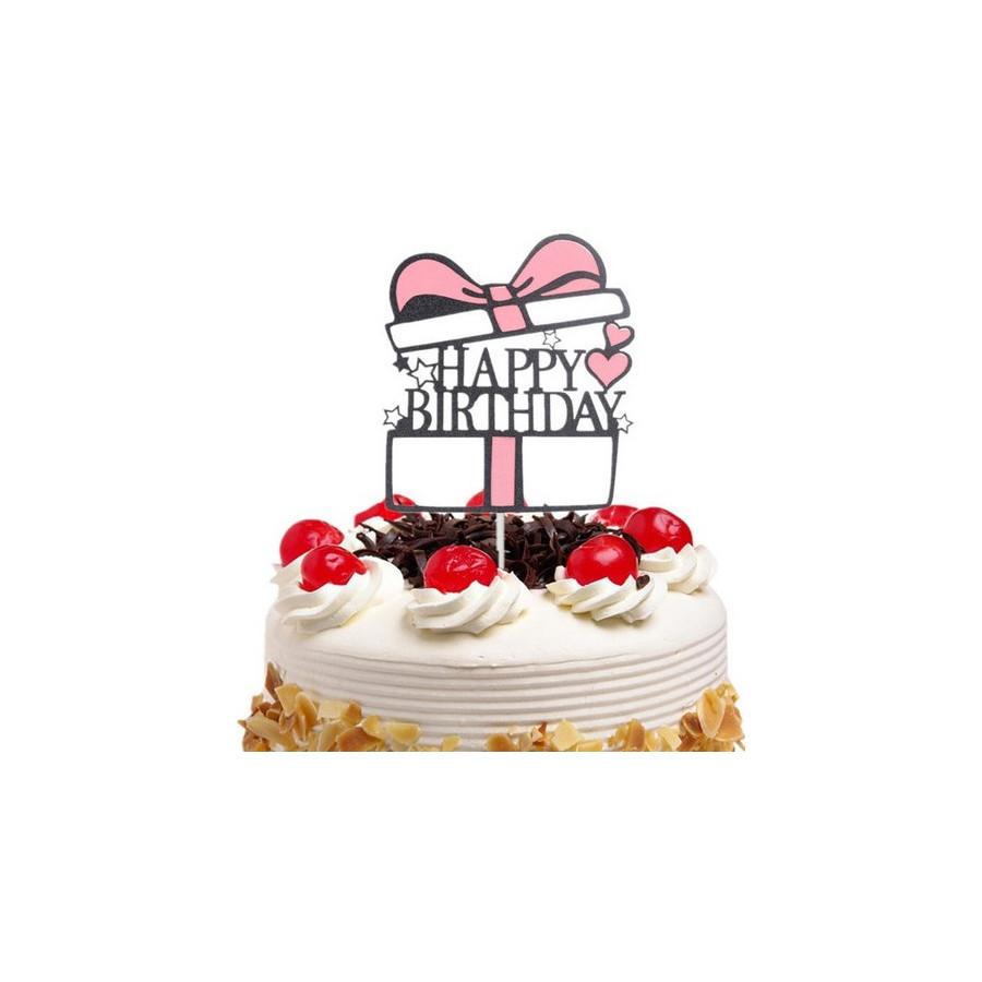 Tooper na tort prezent Happy Birthday RÓŻOWY