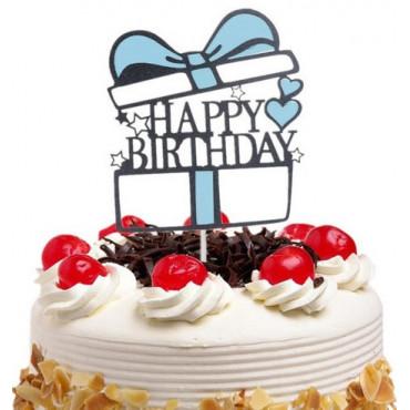 Tooper na tort prezent Happy Birthday NIEBIESKI