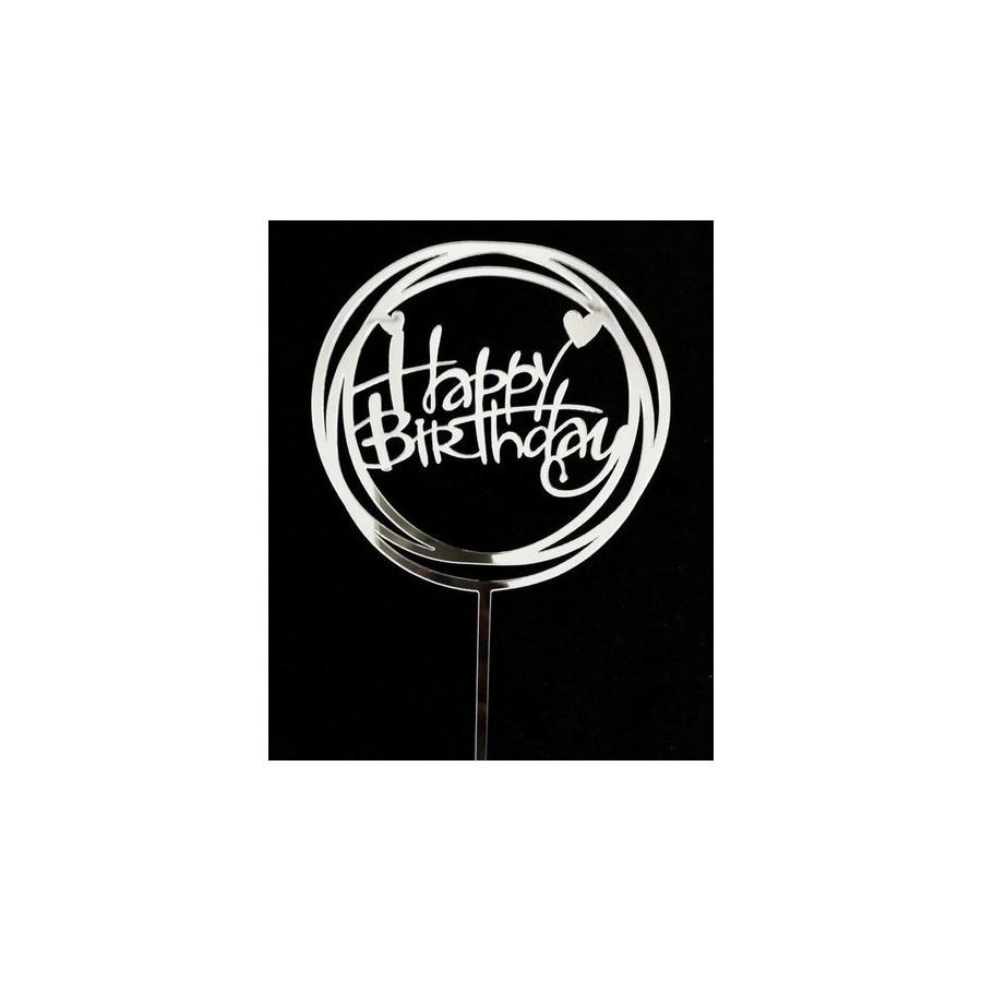 Topper okrągły Happy Birthday srebrny akrylowy