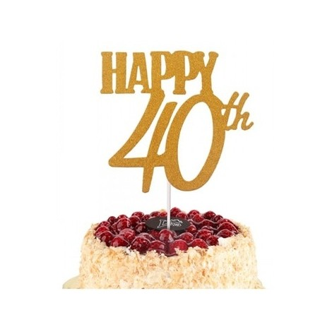 Topper złoty na tort Happy 40 Sweet Baking