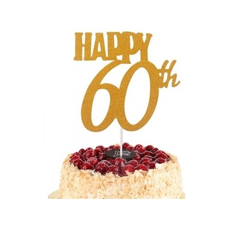 Topper złoty na tort Happy 60 Sweet Baking