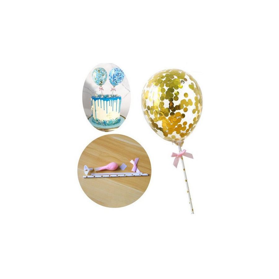 Balon z confetti na tort ZŁOTY topper Sweet Baking