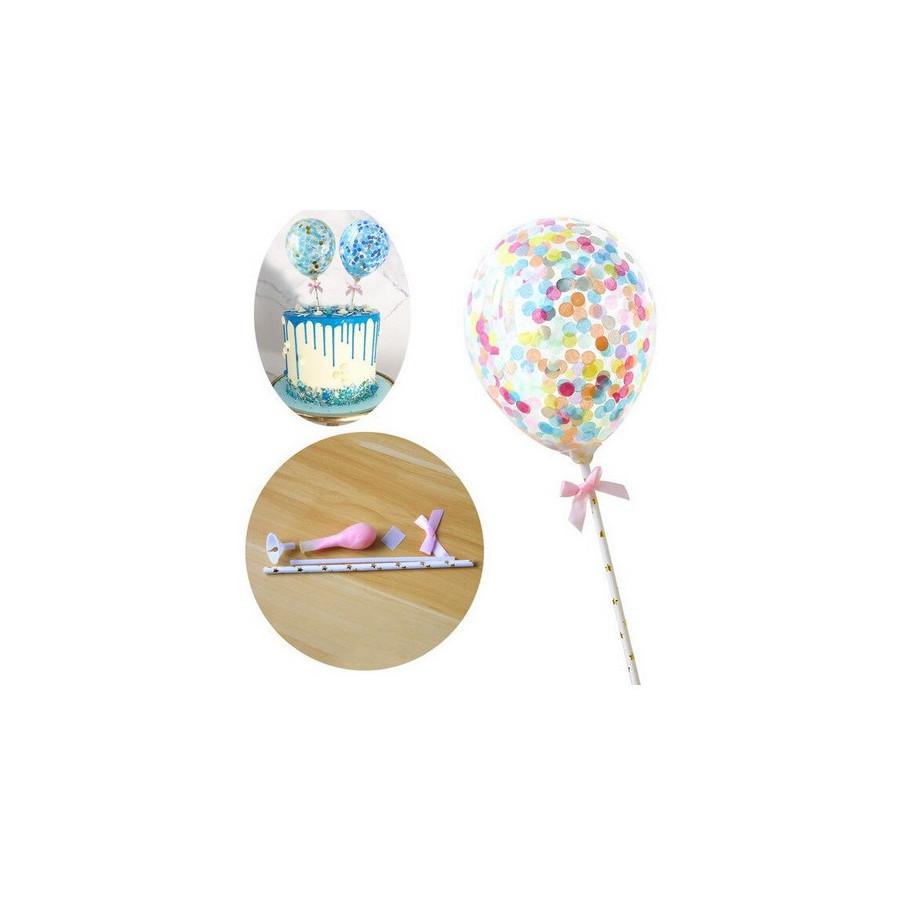 Balon z confetti na tort MULTI topper Sweet Baking