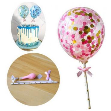 Balon z confetti na tort RÓŻOWY topper Sweet Baking