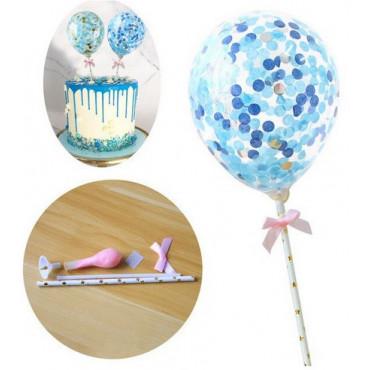 Balon z confetti na tort NIEBIESKI topper Sweet Baking
