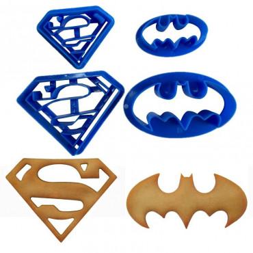 Foremki stemple do ciastek masy cukrowej BATMAN SUPERMAN 4szt SweetB