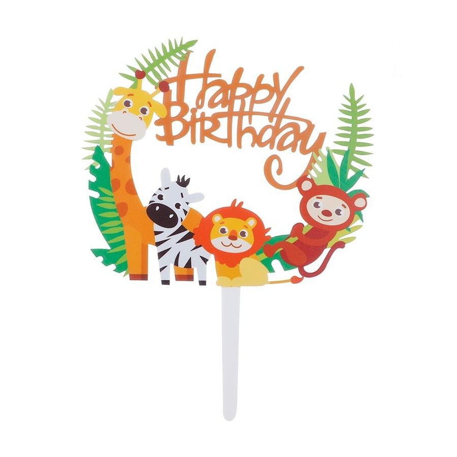 Topper na tort Happy Birthday Safari