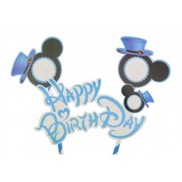 Topper Niebieski na tort Happy Birthday MIKI