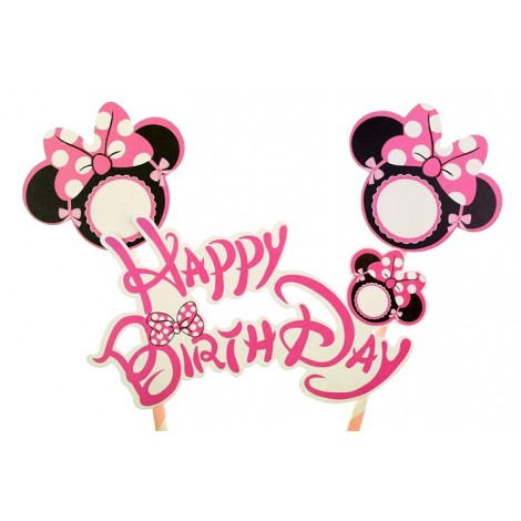 Topper Różowy na tort Happy Birthday MINNIE