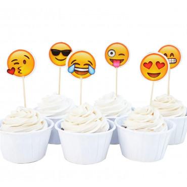 Toppery pikery do babeczek BUŹKI SMILEY EMOTKI 24szt Sweet Baking