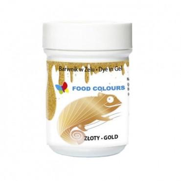 Barwnik spożywczy w żelu Kolor: ZŁOTY Marka: Food Colours Pojemność: 35 gram DATA PRZYDATNOŚCI: MIN. 12 MIESIĘCY