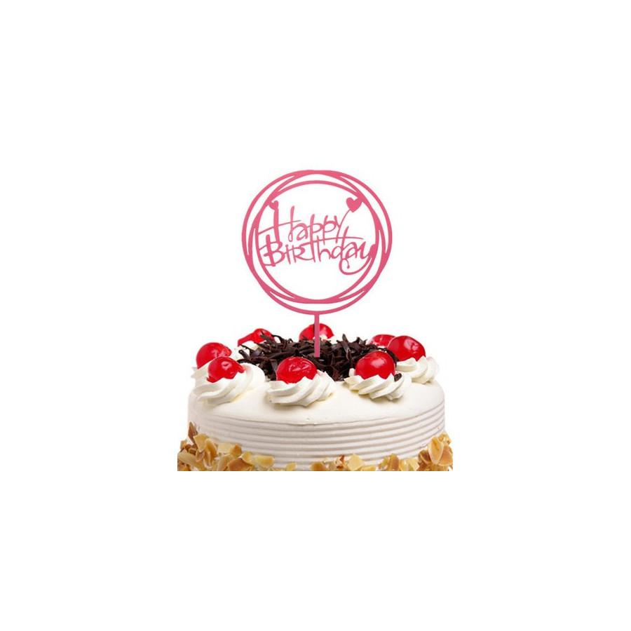 Topper okrągły Happy Birthday RÓŻOWY akrylowy