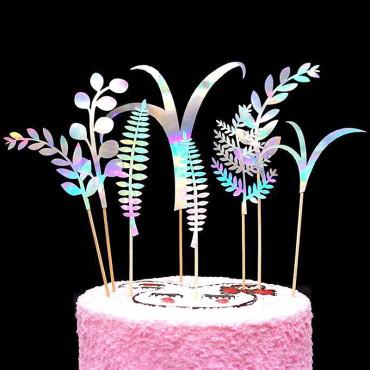 Toppery na tort ROŚLINY srebrne hologram 7szt SB