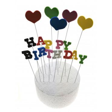 Toppery na Tort Serduszka - Happy Birthday Multi