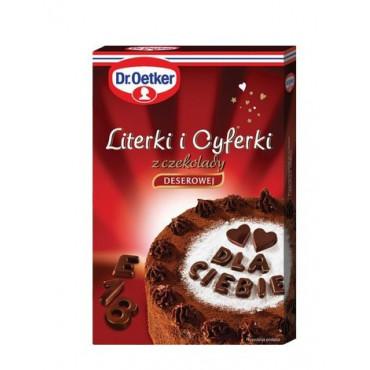 Literki i cyferki z czekolady deserowej Dr.Oetker