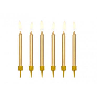 Świeczki urodzinowe ZŁOTE GŁADKIE 6szt 6cm