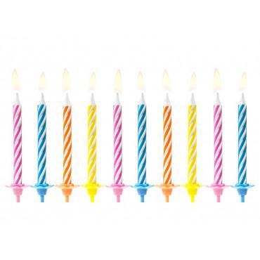 Świeczki urodzinowe KLASYCZNE KOLOROWE 10szt