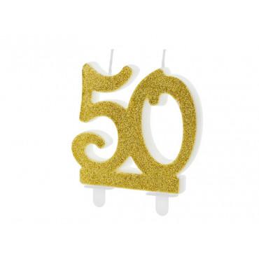 """ŚWIECZKA URODZINOWA BROKATOWA ZŁOTA """"50'"""