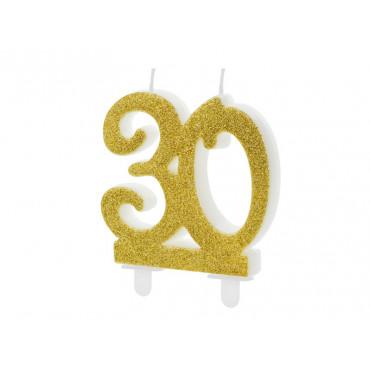 """ŚWIECZKA URODZINOWA BROKATOWA ZŁOTA """"30'"""