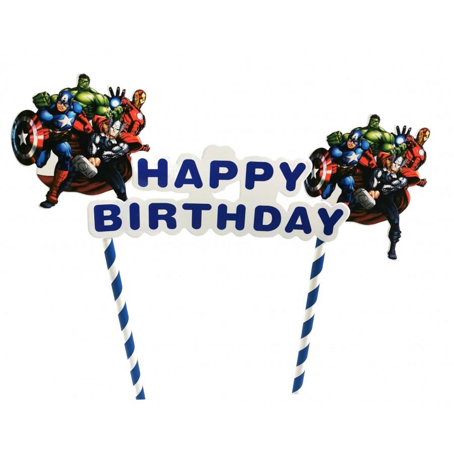 Topper tort urodzinowy HAPPY BIRTHDAY AVENGERS