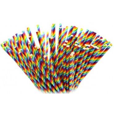 Słomki papierowe cake pops KOLOROWE 10szt