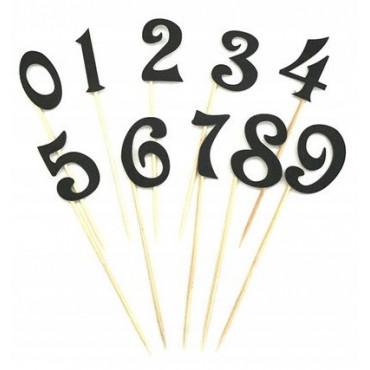 Toppery na tort CZARNE BROKATOWE cyfry 0-9 zestaw