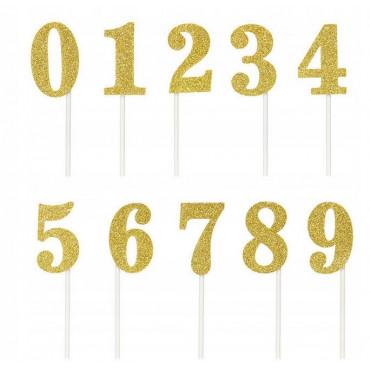 Toppery na tort ZŁOTE BROKATOWE PROSTE cyfry 0-9