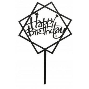 Topper ROMB Happy Birthday CZARNY akrylowy