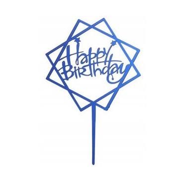 Topper ROMB Happy Birthday NIEBIESKI akrylowy