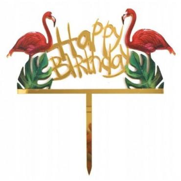 Topper Happy Birthday akrylowy FLAMING