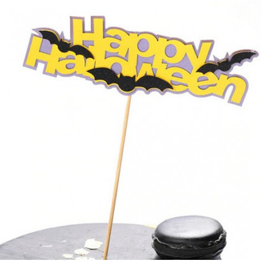 Topper na tort brokatowy HAPPY HALLOWEEN NIETOPERZE 6330