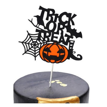 Topper na tort brokatowy trick or treat Halloween 6340