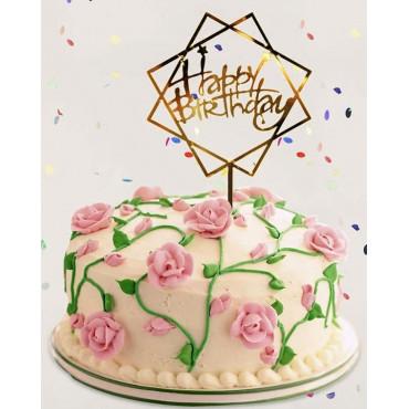 Topper ROMB Happy Birthday ZŁOTY akrylowy