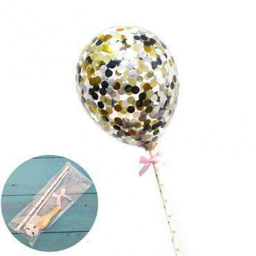 Balon z confetti na tort CZARNY topper Sweet Baking
