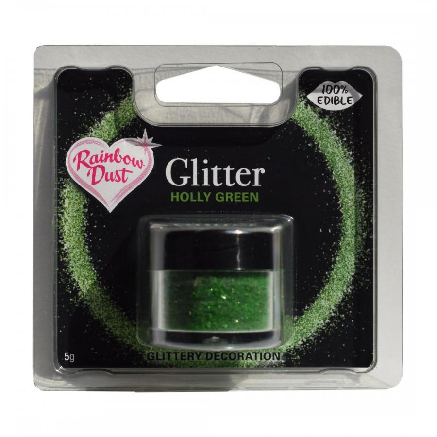 Rainbow Dust Jadalny Brokat do dekoracji wypieków ZIELONY HOLLY GREEN