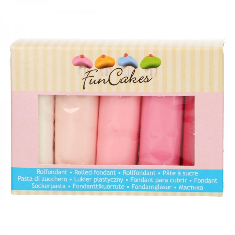Fun Cakes Masa cukrowa lukier plastyczny 5 kolorów 5x100g VALENTINE FC97030