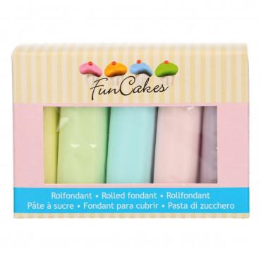 Fun Cakes Masa cukrowa lukier plastyczny 5 kolorów 5x100g PASTEL FC97015
