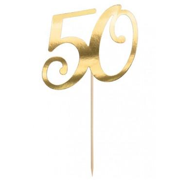 Topper papierowy złoty na tort -50- PD